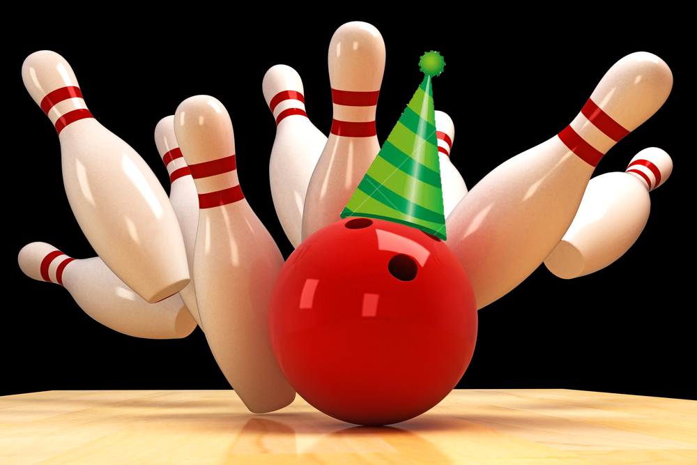 bowling pins and bowling ball